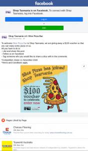 Shop Tasmania – Win a $100 Slice Pizza Voucher (prize valued at $100)