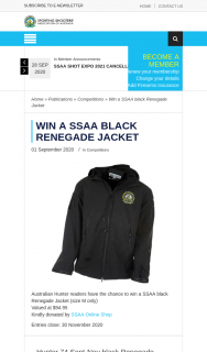 ssaa – Win a Ssaa Black Renegade Jacket (prize valued at $94.95)