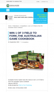 ssaa – Win 1 of 3 Field to Forkthe Australian Game Cookbook (prize valued at $49.95)