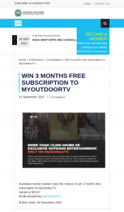 ssaa – Win Three Months Free Subscription to Myoutdoortv (prize valued at $26.97)
