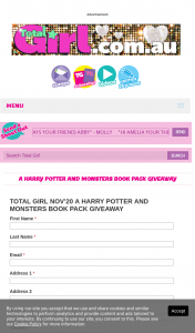 Total Girl – Win 1/4 Harry Potter and Monsters Book Packs (prize valued at $500)