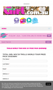 Total Girl – Win 1/5 Trolls World Tour Prize Packs (prize valued at $625)