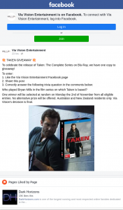Via Vision Entertainment – Win a Copy of Taken The Complete Series on Bluray