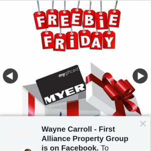 Wayne Carroll First Alliance Property Group – Win this Myer Gift Card (prize valued at $50)