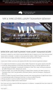 Wine Selectors – Win a Wine Lovers Luxury Tasmanian Getaway (prize valued at $13,000)