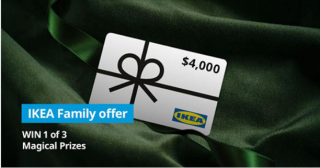 IKEA – Win a major prize of a $4,000 IKEA gift card PLUS a 30-minute virtual appointment with Ikea Interior Designer OR 1 of 2 minor prizes