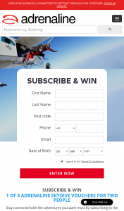 ADRENALINE – Win 1 of 3 Adrenaline Skydives for 2 (prize valued at $1,500)
