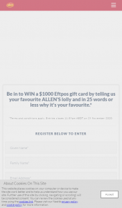 """Allen's – Win Competition (""""the Promotion"""") (prize valued at $1,000)"""