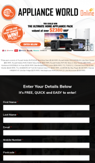 Appliance World Online – Win a Tcl Tv/ Lg Blu Ray Player/ Hisense Fridge/ Breville Juicer Bundle (prize valued at $2,389)