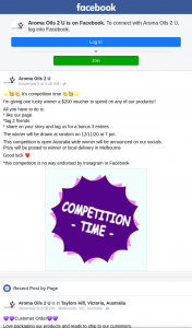 Aroma Oils 2 U $200 voucher (prize valued at $200)