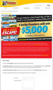 Australian Puzzler – Win an Au$5000 Travel Voucher to Be Used at Travella Travel Towards Any Holiday Within Australia Or New Zealand (prize valued at $15,000)