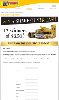 Australian Puzzler – Win Au$250 Awarded In The Form of a Cheque Made Payable In The Winner's Name (prize valued at $3,000)