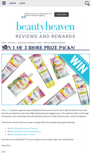 Beauty Heaven – Win 1 of 3 Bioré Prize Packs
