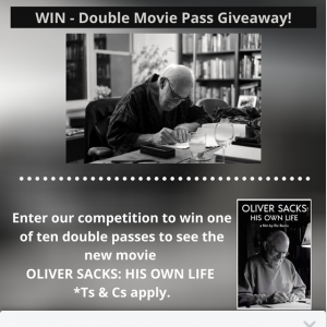Booktopia – Win We Have Ten Double Movie Passes to See The Incredible New Film Oliver Sacks His Own Life to Giveaway Courtesy of Madman Films