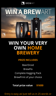 BrewArt – Win Your Very Own Home Brewery (prize valued at $1,650)