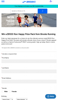 Brooks – Win a $1000 Run Happy Prize Pack From Brooks Running (prize valued at $1,000)