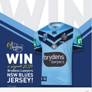 Cafe Academia – Win a Signed 2019 Nsw Blues State of Origin Jersey