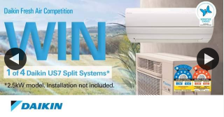 Daikin Australia – Win One of Four 2.5kw Us7 7-star Energy Rated Split Systems As Part of Our Daikin Fresh Air Competition