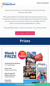 Discover Queensland – LeisureCom Group – Win 1 of 4 Gold Coast Attraction Prize Packs Valued at Over $5000 (prize valued at $5,000)