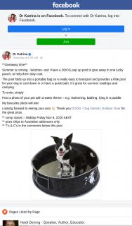 Dr Katrina – Win a Doog Pop Up Pool for Your Pet