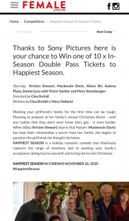 Female & Sony Pictures – Win One of 10 X In-Season Double Pass Tickets to Happiest Season (prize valued at $1)