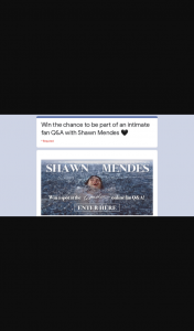 Frontier – Win Shawn Mendes Q&a Ticket
