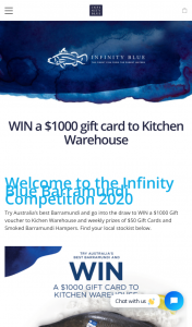 Infinity Blue Barramundi – Win a $1000 Kitchen Warehouse Voucher Weekly Prizes  (prize valued at $50)