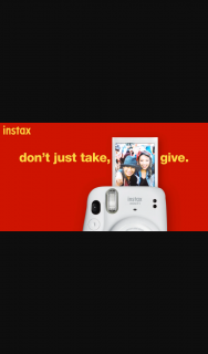 Instax – Win 100 Sheets of Film (prize valued at $2,880)