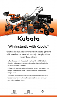 Kubota Engine Oil – Win Game Materials Void If Stolen (prize valued at $50)