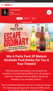 Nova FM – Win a Party Pack of Matso's Alcoholic Fruit Drinks for You & Your Friends