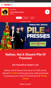 Nova 93.7FM – Win Nathan (prize valued at $20,000)