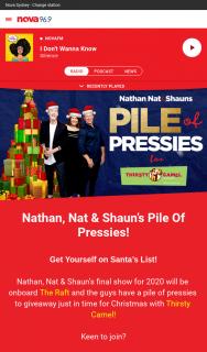 Nova 93.7FM – Win Nathan (prize valued at $20,000)