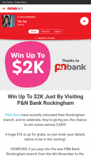 Nova 93.7 – Win Up to $2k Just By Visiting P&n Bank Rockingham