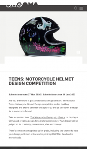 QAGOMA – Win Motorcycle Helmet Design (prize valued at $150)