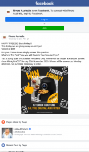 Rivers Australia – Win an Air Fryer (prize valued at $399)