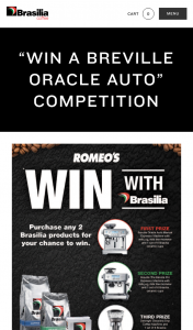 "Romeo's – Brasilia – ""win a Breville Oracle Auto"" Promotion Will Commence on Wednesday (prize valued at $4,060)"
