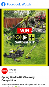Ryobi – Win a Ryobi Garden Kit for You and Another Green Thumb (prize valued at $2,448)