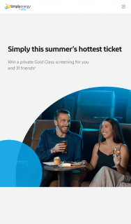 Simply Energy-V Rewards – Win an Amazing Gold Class Cinema Experience for Themselves and 31 Friends and Family