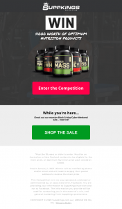 Suppkings Nutrition $1000 Worth of Optimum Nutrition Products – Win $1000 Worth of Optimum Nutrition Supplements (prize valued at $1,000)