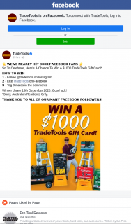 TradeTools – Win a $1000 Trade Tools Gift Card (prize valued at $1,000)