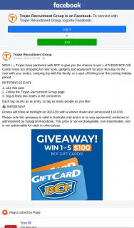 Trojan Recruitment Group – Win 1 of 5 $100 Bcf Gift Cards (prize valued at $500)