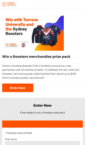 Win a Roosters Merchandise Prize Pack (prize valued at $250)