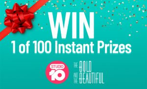 Network 10 – Studio 10 Instant Win – Win 1 of 100 instant win prizes including Westfield gift cards and gift packs