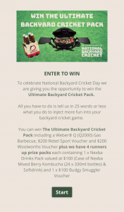Austereo – Triple M – Win The Ultimate Backyard Cricket Pack (prize valued at $100)