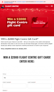 Flight Centre – Win a $2000 Flight Centre Gift Card