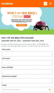 Foodworks – Win 1 of 100 Ziegler & Brown Single Burner Bbq's With Stand (prize valued at $3,900)