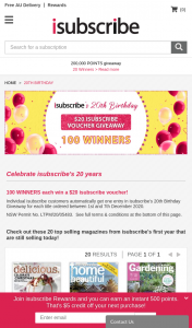 isubscribe – Win a $20 Isubscribe Voucher (prize valued at $2,000)