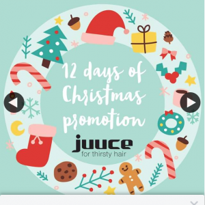 Juuce Haircare – Win One of Our Magnificent Gifts During Our 12 Days of Christmas Promotion Which Starts Tomorrow🌟
