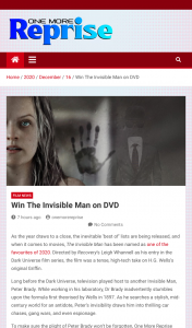 OneMoreReprise – Win The Invisible Man DVD (prize valued at $32)