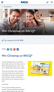 RACQ – Win a $500 Racq Bank Eftpos Card (prize valued at $2,500)